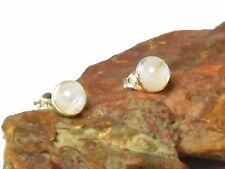 MOONSTONE   Sterling  Silver  925  Gemstone Earrings / STUDS  -  8 mm