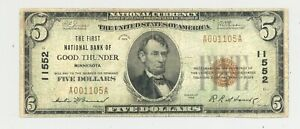 Series 1929 $5 National Banknote Good Thunder, Minnesota National Banknote