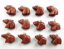 12PCS Wholesale unique gold sand stone carved bear pendant bead Vk4592
