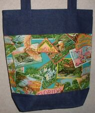 NEW Handmade Large Florida Tourism Everglades Print Travel Denim Tote Bag