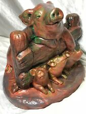 Incredible Bronzed Style Stone Animal Mother Pig Young Piglets Garden Statue
