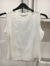 BHS SIZE 10 PETITE IVORY SLEEVELESS SUMMER TOP WITH EMBROIDERED DETAIL NWOTS