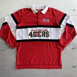 Vintage 80s Nutmeg NFL San Francisco 49ers Jersey Style Polo Shirt Mens Sz XL