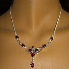 Granat Halskette Silber 925 Collier 40cm Kette 9 Cabochon Edelsteine Rot  fey
