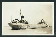 MI Rogers City RPPC 1940's THE LAKER SS B.H. TAYLOR & STEAM TUG Presque Isle Co.