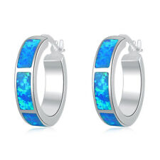 Blue Fire Opal Silver for Women Jewelry Gemstone Hoop Earrings 20mm OH2516
