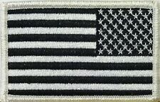 AMERICAN FLAG EMBROIDERED PATCH iron-on BLACK WHITE US REVERSE subdued LEFT #03