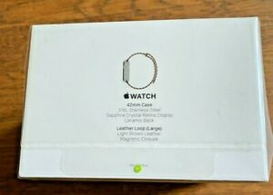 Apple Watch - First Generation - 42mm Stainless Steel w/Leather Loop - SEALED