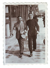 Handsome young men walk together at hand gay int.vint. photo,1940, 115