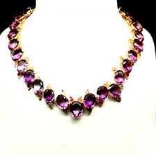 """NATURAL PURPLE AMETHYST & FANCY SAPPHIRE BIG NECKLACE 19"""" 925 SILVER STERLING"""