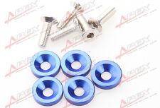 5 PC BLUE BILLET ALUMINUM FENDER/BUMPER WASHER/BOLT ENGINE BAY DRESS UP KIT