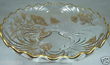VINTAGE FOOTED GLASS BOWL GOLD POPPY FLOWERS OVERLAY SCALLOPED RIMS