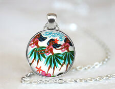 Beach Ladies Dancing Tibetan silver Dome Glass Art Chain Pendant Necklace