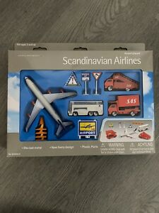 SAS Scandinavian Airlines Airport Play Set 12 Piece Playset Die Cast - NEW