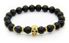 Beaded 8Mm Lava Stone Bead Golden Color Skull Elastic Bracelet For Men Free Ship