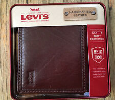 New In Box Levi's Mens Trifold Wallet RFID Protection, Tan, Genuine Leather