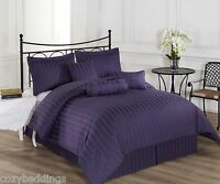 Royal Calico DARK PURPLE 7p Comforter set Damask Stripe 100% Cotton 350 Thread