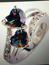 RAINBOW MYSTIC TOPAZ DOUBLE HEART STERLING RING SIZES 6/7/8/9/10/11/12