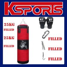 25kg Filled Boxing Punching Bag - Heavy Duty PU Leather Durable Canvas Solid Fil