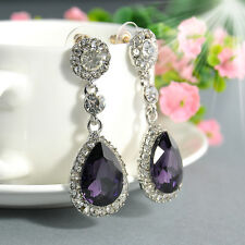 Wedding Party Jewelry Silver Rhinestone Crystal Teardrop Bridal Dangle Earrings