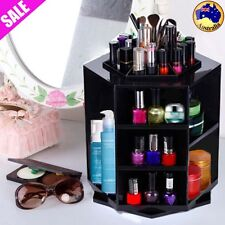 360 Degree Spin Cosmetic Makeup Organizer Box Storage Rack Case Container Black