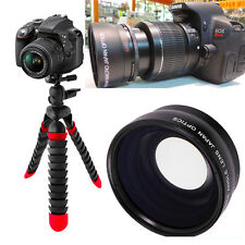 "WIDE ANGLE LENS + 12"" FLEX TRIPOD FOR Canon Rebel EOS  T3 T3I T4 T5 T6 7D 6D T7"