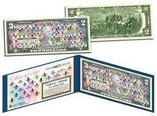 Cancer Awareness * RIBBONS OF HOPE * Colorized U.S. $2 Bill * STAND UP 2 CANCER