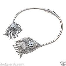 Kenneth Jay Lane rhinestone crystalized feather ends bib necklace 7659NSC