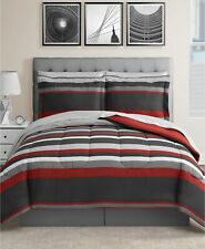 SALE Fairfield Square Stripe RED GRAY KING Reversible Comforter NEW