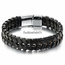 Hollow Black Leather Stainless Steel Men's Magnetic Bracelet Wristband Bangle