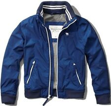 NWT Abercrombie & Fitch Mens Blue Athletic Bomber Jacket Coat ~ S