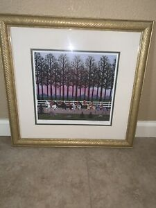 Jane Wooster Scott FOXY GIVES EM THE SLIP Hand Signed Limited Edition Gold Frame