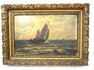 """Wood Ornate Gesso Gold Gilded Picture Frame  23"""" x 17"""" x 2.5"""" Unsigned Boat Art"""