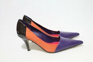 Diana Ferrari Size 8 Womens Three Tone Color Leather Pointy Heels