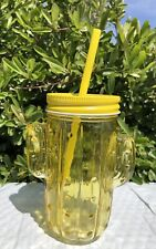 New Yellow Cactus Glass Mason Jar Tumbler Plastic Straw Cup Party Drinking Gift