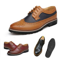 Men Business Wingtip Oxfords Dress Formal Brogue Lace Up Casual Leather Shoes uk