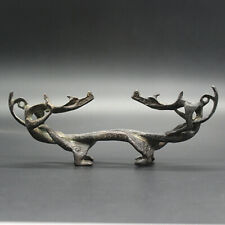 Chinese double dragons playing with beads pen or Brush rest made of bronze