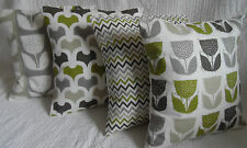 """4 Cushion Covers 16"""" Lime Green Grey Mixed Shabby Chic Style Handmade 40cm"""