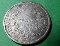 1875 France 5 Francs - F+/VF - KM # 820.1  - ASW .7234 oz