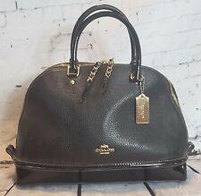 COACH Black Leather Satchel Purse Handbag ~ Patent Leather Trim