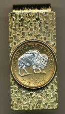 Jefferson Nickel White Buffalo Hinge Silver on Gold Folding Money Clip Gift Set
