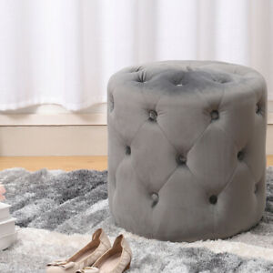 Upholstered Stool Velvet Chair Round Buttoned Seat Chesterfield Pouffe Pouf Cyl