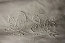 Vintage French linen sheet trousseau DM monogram 89 X 132 LARGE
