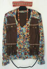 HIPPIE-WOODSTOCK-Shirt w/attached Embellished Vest-Love Beads- Head Band COSTUME