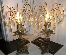 Beautiful Ornate Pair Vintage L & L Wmc Brass Crystal w/ Prisms Table Lamp