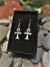 Handmade Ankh Silver Plate Earrings (Pair) Gift Boxed