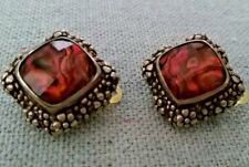 Stephen Dweck Vintage Antique Bronze clad .925 Faceted  Gemstone Clip Earrings