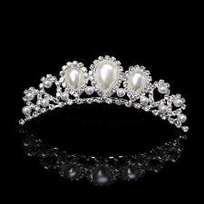 Bridal Rhinestone Wedding Crown Hair Clip Comb Tiara Faux Pearl Jewellery 2017
