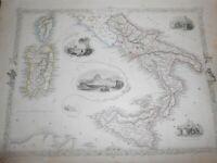 1851 RAPKIN/TALLIS CARTA GEOGRAFICA DEL REGNO DELLE DUE SICILIE NAPOLI SARDEGNA