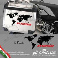 2 Adesivi Planisfero Moto Valigie BMW R 1250 gs adventure red